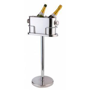 Deluxe dubbele Champagne/Wijn koeler met standaard. RVS